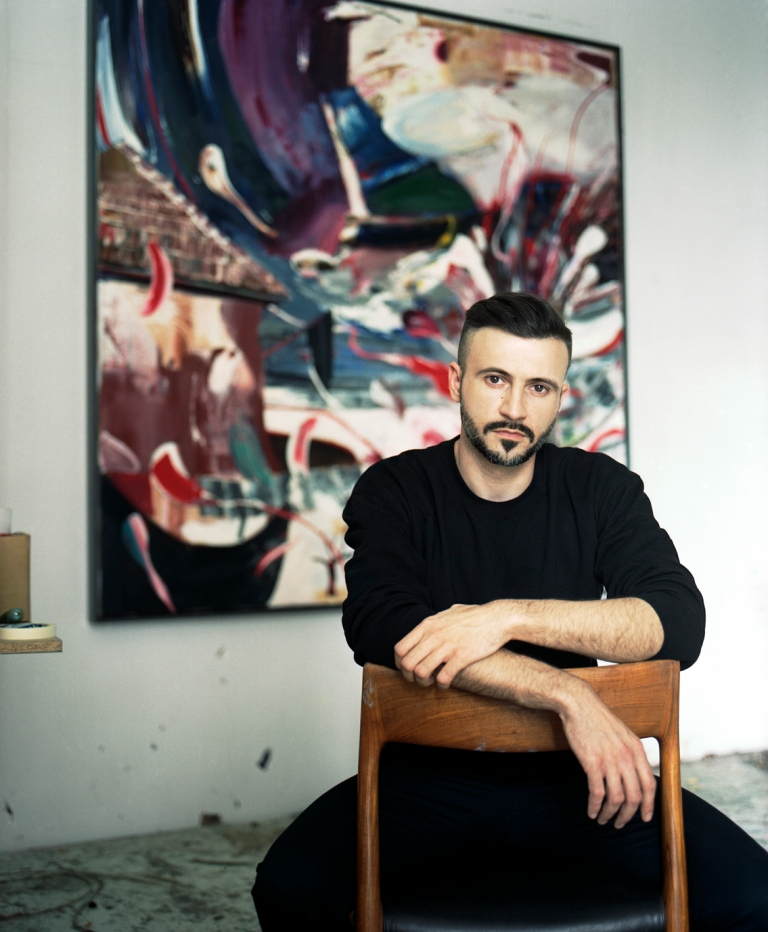 The painter in his studio in Berlin. (c) Steven Kohlstock