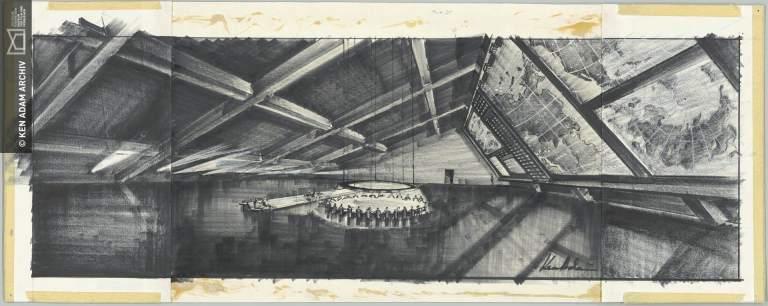 "Entwurf ""War Room"" für DR. STRANGELOVE OR: HOW I LEARNED TO STOP WORRYING AND LOVE THE BOMB GB/USA 1964, Regie: Stanley Kubrick © Deutsche Kinemathek – Ken Adam Archiv"