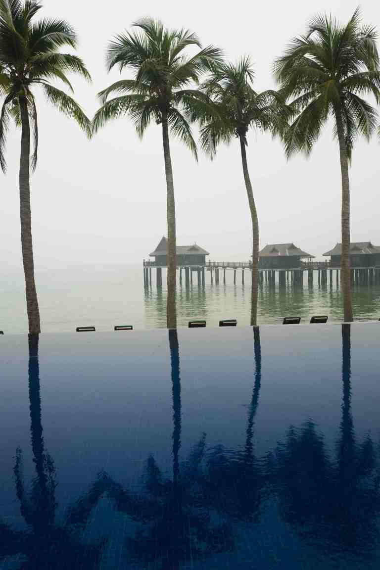 Malesia, settembre 2015. View of one of the Pangkor Laut Resort swimming pools.