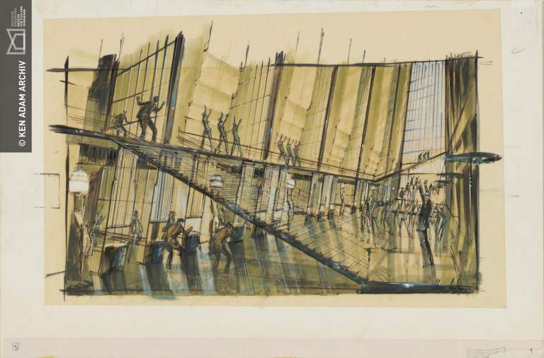 "Entwurf ""Bank"" für PENNIES FROM HEAVEN USA 1981, Regie: Herbert Ross © Deutsche Kinemathek – Ken Adam Archiv"